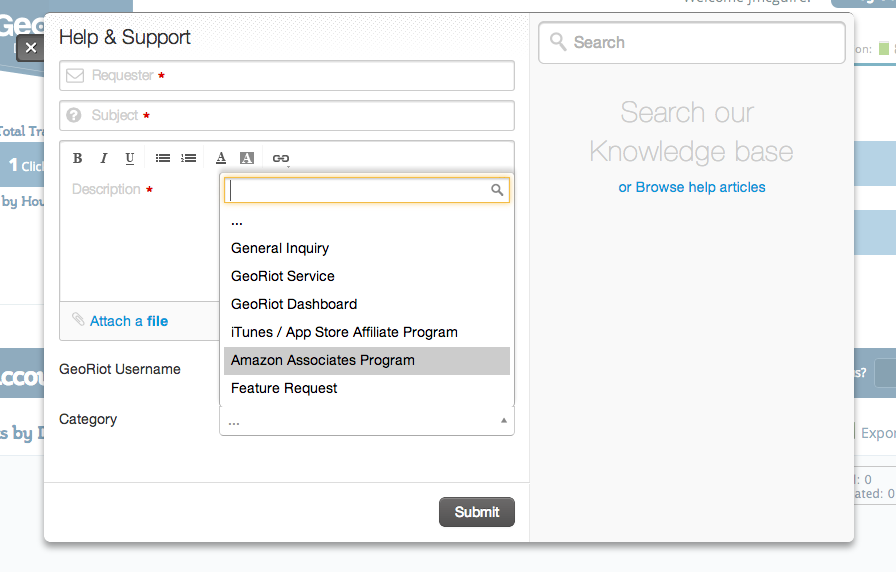 Submit a ticket or browse our entire catalogue of support materials from anywhere in your dashboard, with a single click.