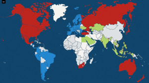 Complete map of GeoRiot's iTunes affiliate coverage, with the newest countries in green.