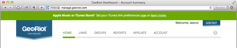 Your account dashboard example