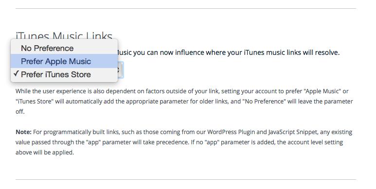 iTunes Music Links, Prefer iTunes Store