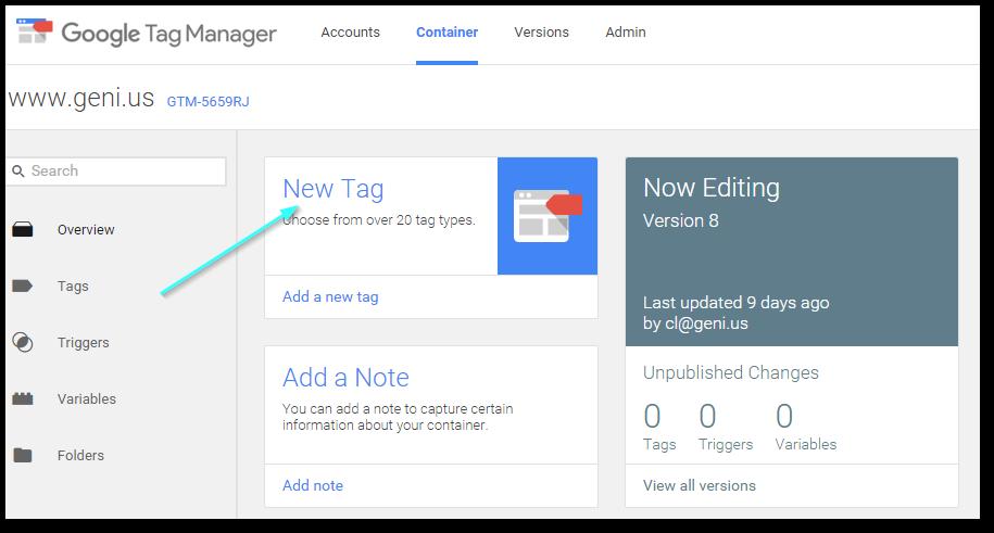 Screengrab: Tags - New Tags