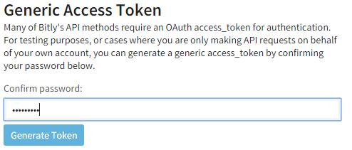Bitly Generate Access Token screenshot
