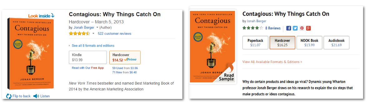 Amazon.com and Barnesandnoble.com versions of the same book