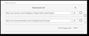 A/B testing link built in Geniuslink dashboard