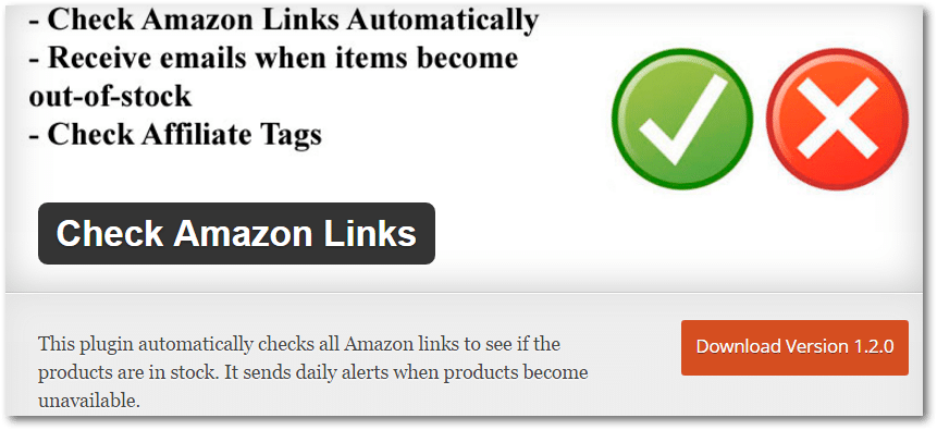 Check Amazon Links Automatically, Receive emails when items become out-of-stock, Check Affiliate Tags