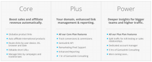 Geniuslink Core, Plus and Power plans