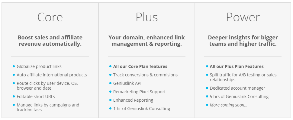 Geniuslink Core, Plus and Power plans and the included features.