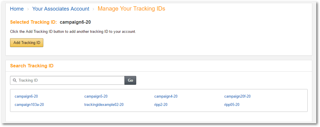 Amazon.com Associates Central - Manage Your Tracking IDs