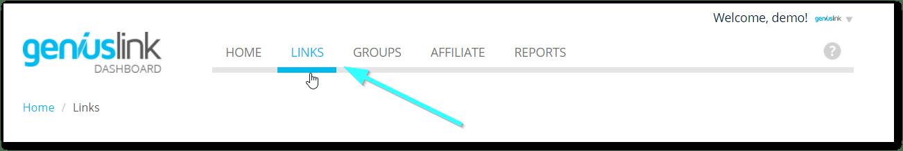 Geniuslink Dashboard: Links