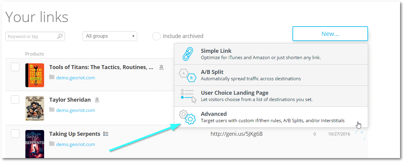 Your Links: Advanced Options