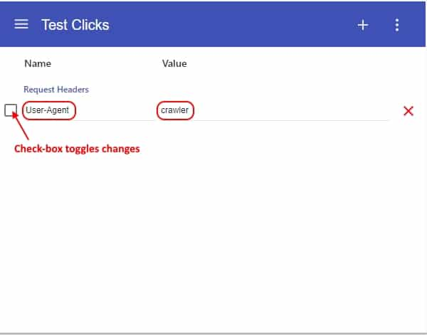 Test Clicks: Check-box toggles changes