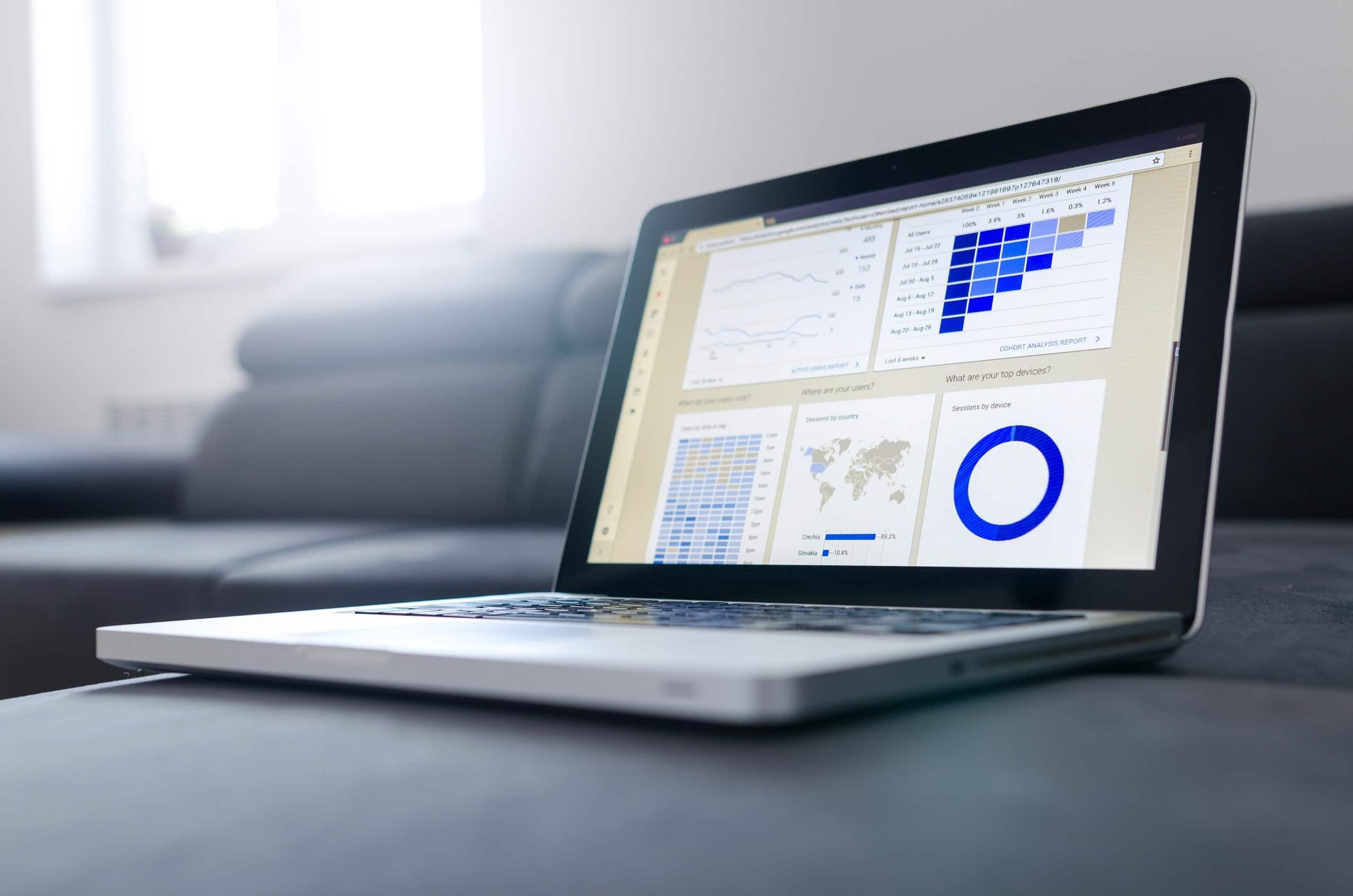 Laptop with screen full of data on amazon associates.com