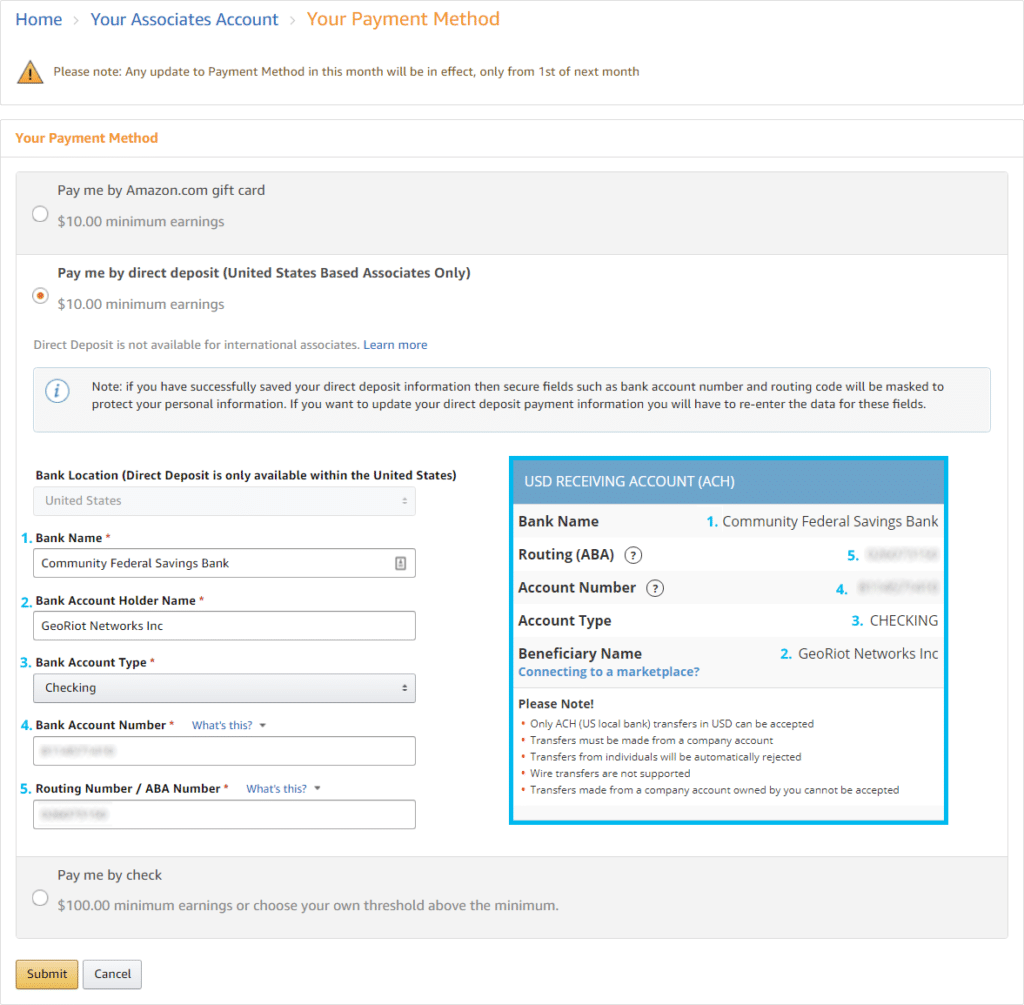 Amazon Payment Information