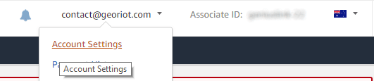 Locating the Settings button within the Amazon Affiliates AUDprogram.