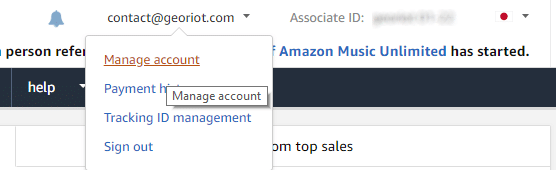 Locating the Settings button within the Amazon Affiliates JPY program.