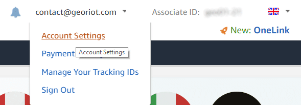 Locating the Settings button within the Amazon Affiliates UK program.