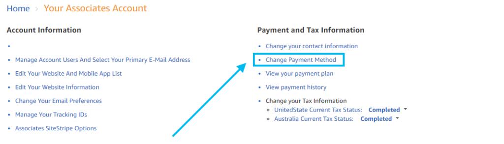 Payment method for Amazon Associates AUD