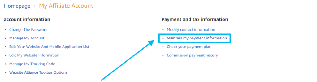 Payment method for Amazon Associates CNH
