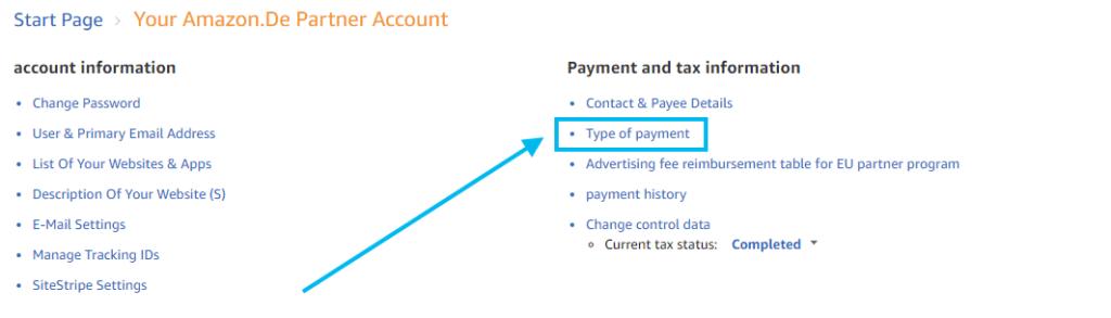 Payment method for Amazon Associates UK.