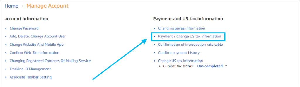 Payment method for Amazon Associates JPY