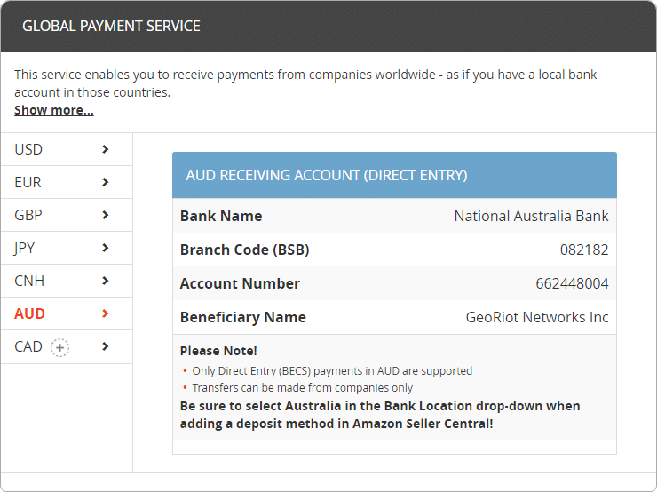 Banking information for Amazon Associates AUD