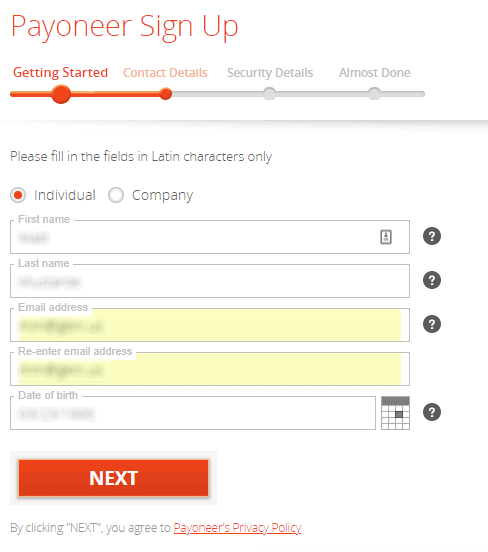Payoneer Sign Up - Getting Started