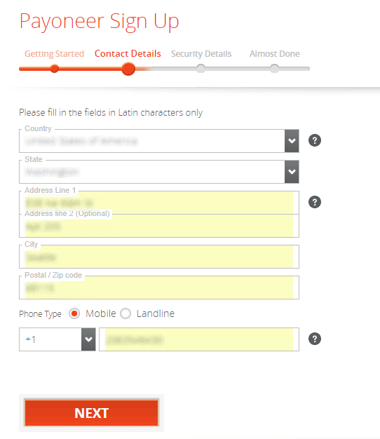Payoneer Sign Up - Contact Details