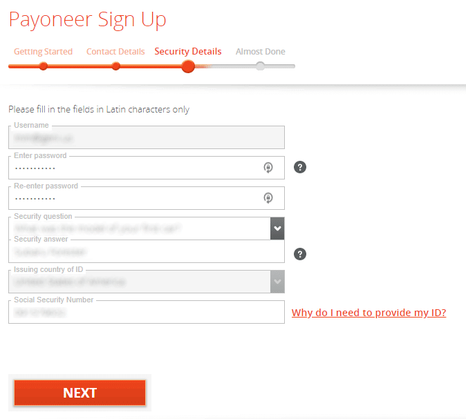Payoneer Sign Up - Security Details