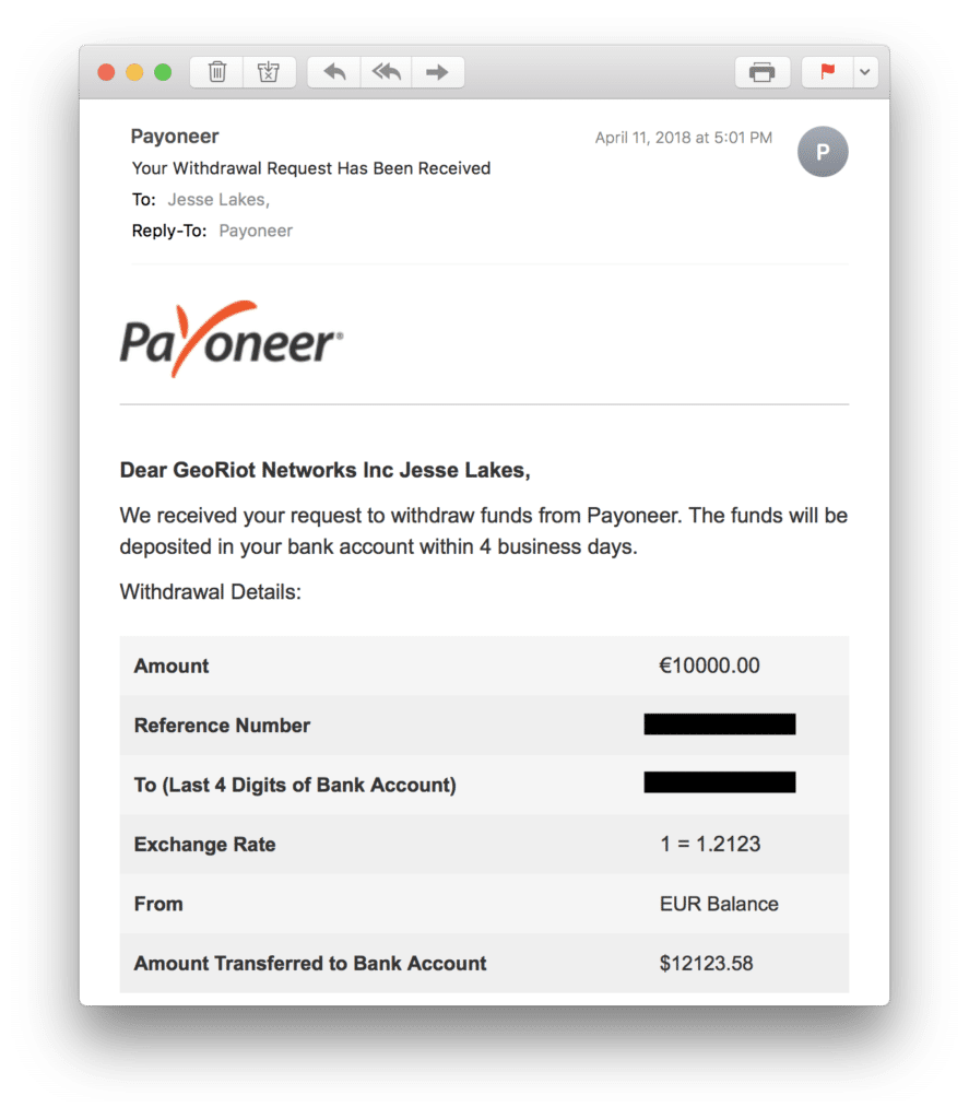 Withdrawal Request For Payoneer