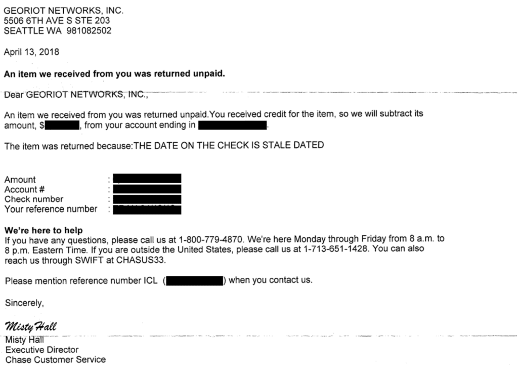 """international commissions - Letter from Chase about a """"Stale Dated"""" check"""