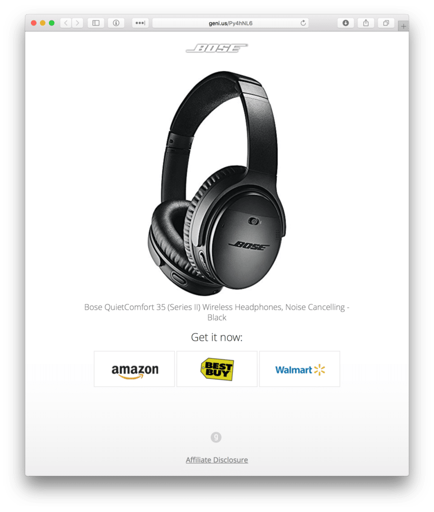 Bose Headphones with Choice Pages