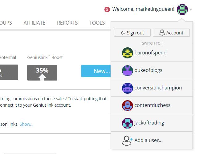 Adding different accounts on Geniuslink