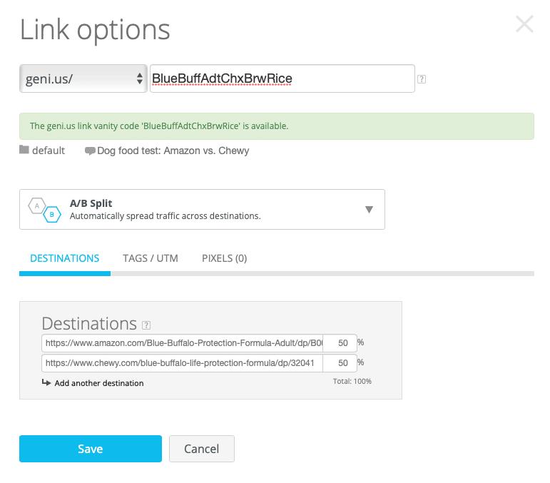Link Options, A/B Split Links