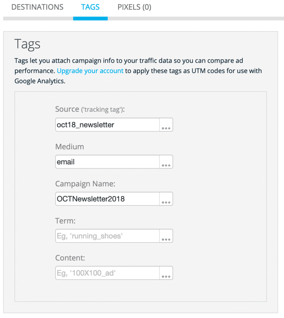 Tracking tags and UTM for better short link reporting.