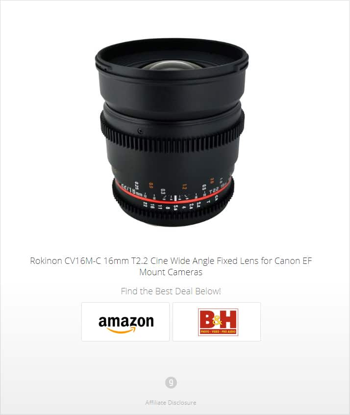 Rokinon CV16M-C 16mm T2.2 Cine Wide Angle Fixed Lens for Canon