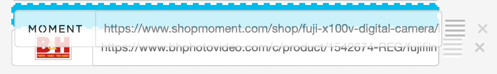 Example of moving the links