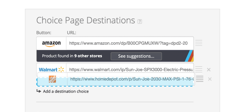Choice Page Suggestion
