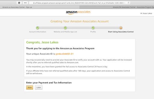 Creating Amazon Associate ID for Amazon SA.