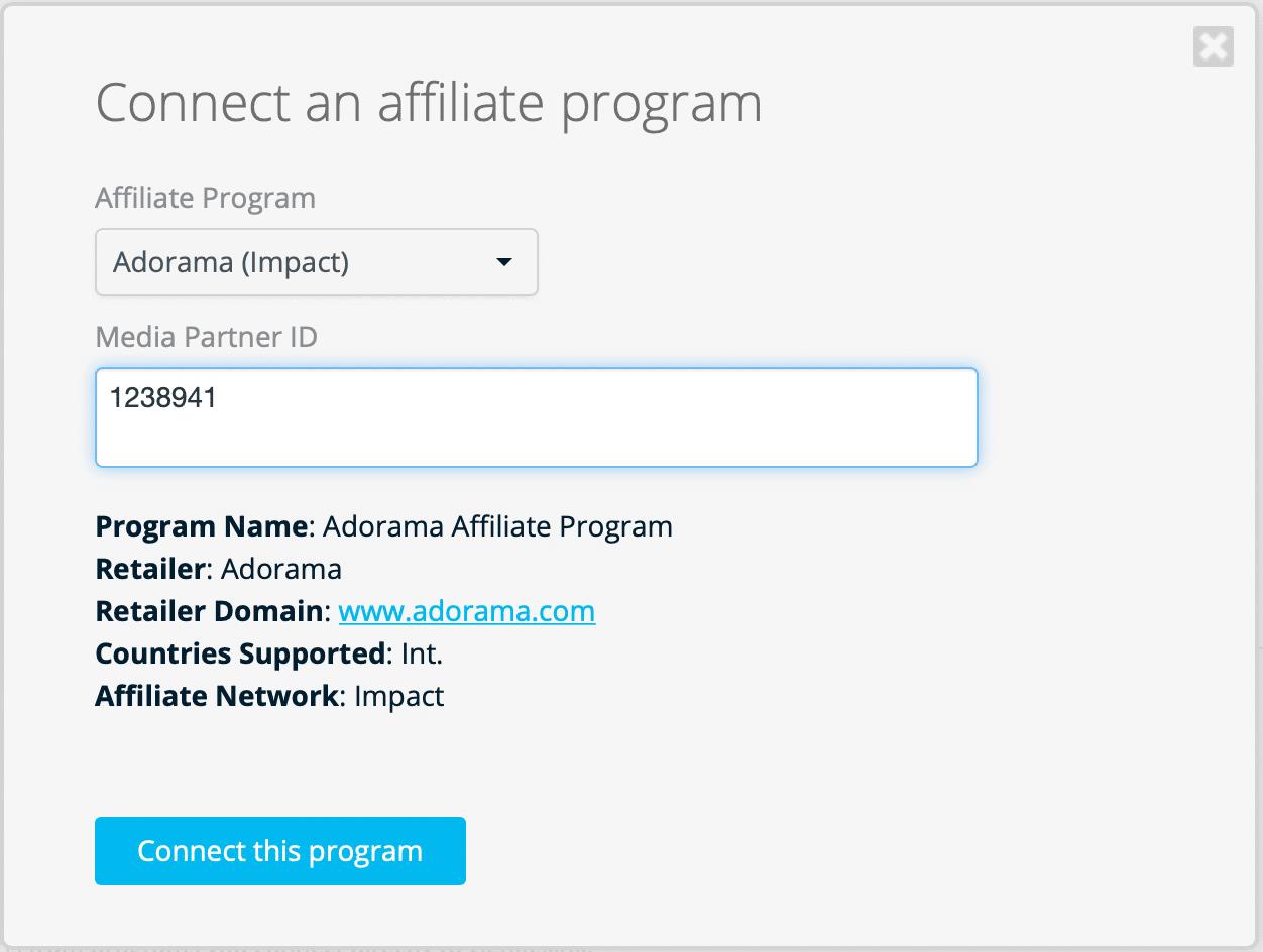 Connecting Adorama Affiliate to Geniuslink dashboard