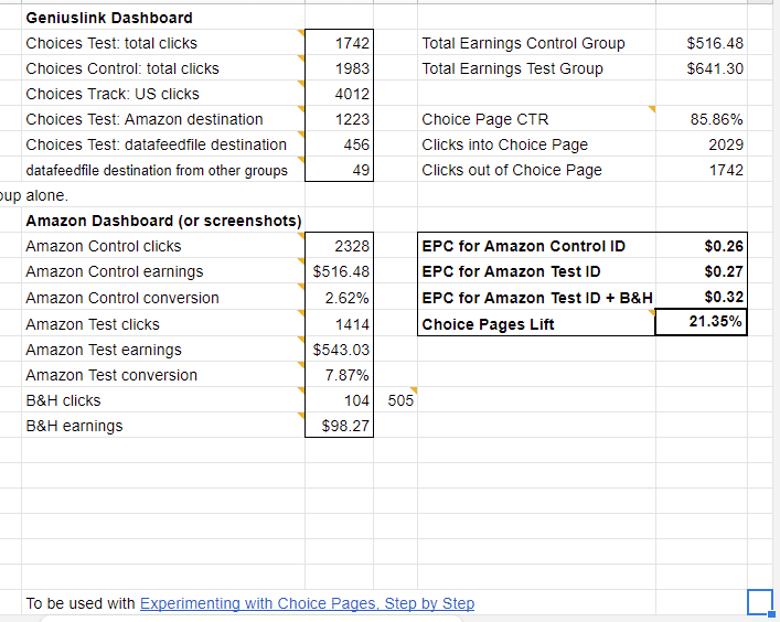 Choice Pages lift progress spreadsheet
