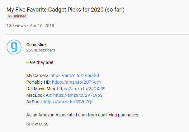 examples of amazon affiliate links to gadgets