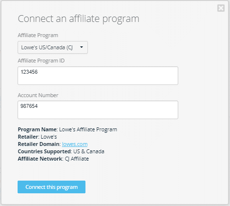 Connecting Lowe's Affiliate Program to Geniuslink dashboard