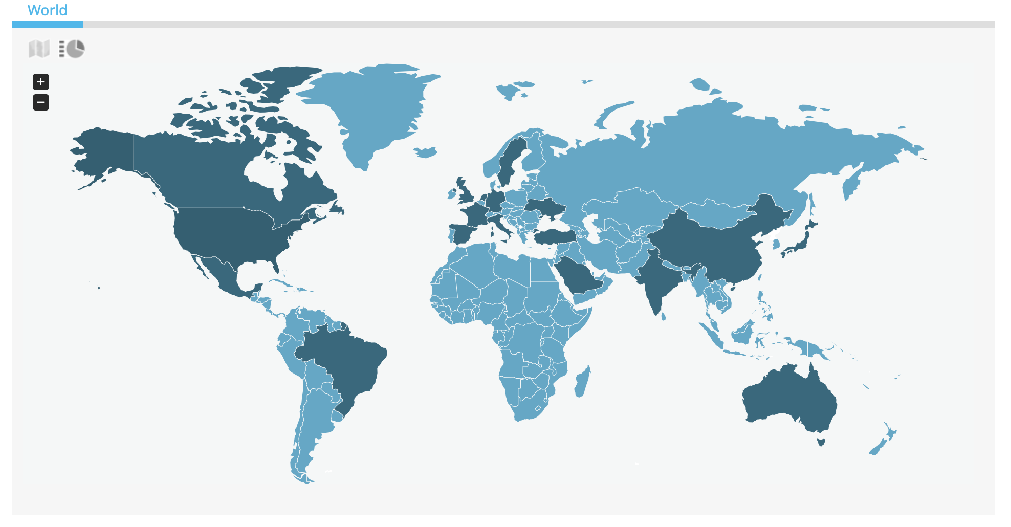 A map of the world with highlighted countries Amazon affiliate links work from.