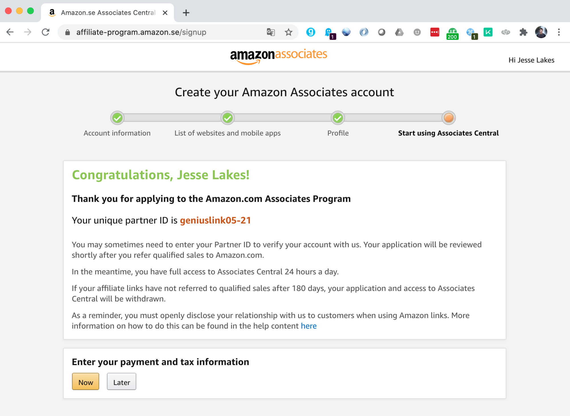 Create your amazon associates account