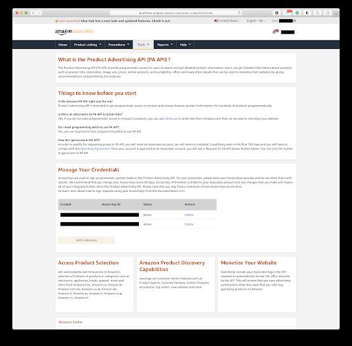 amazon affiliate access key