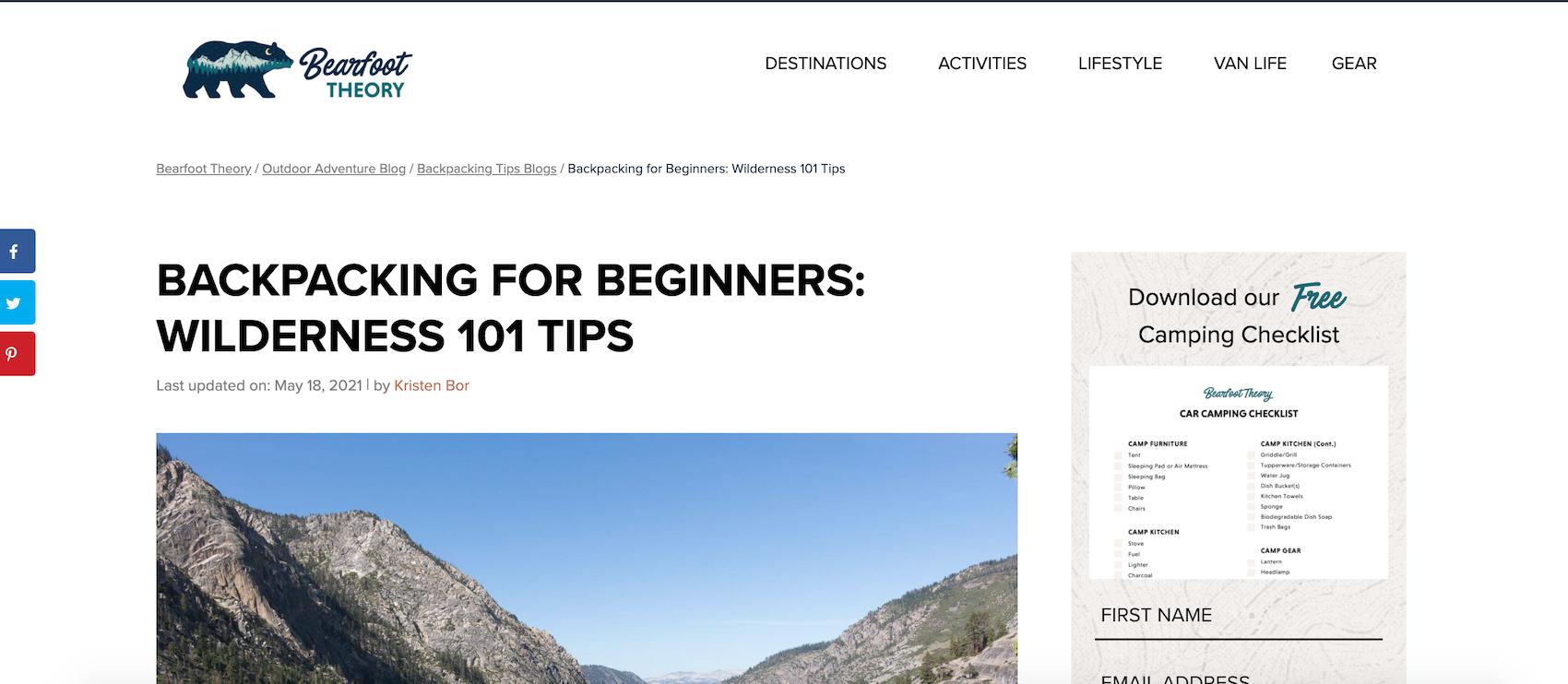 Backpacking Niche Blog idea
